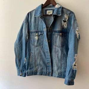 Oversized Distressed Forever 21 Jean Jacket Small